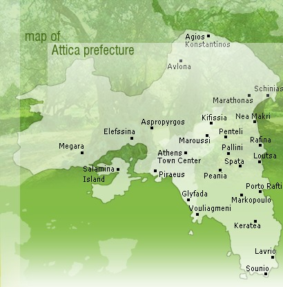 Map of Attica prefecture